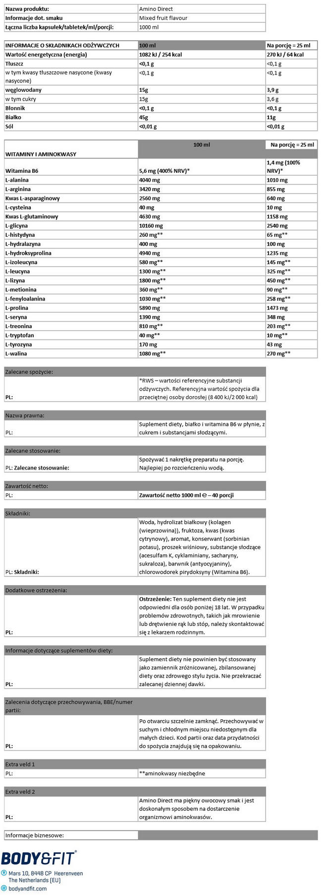 Amino Direct Nutritional Information 1