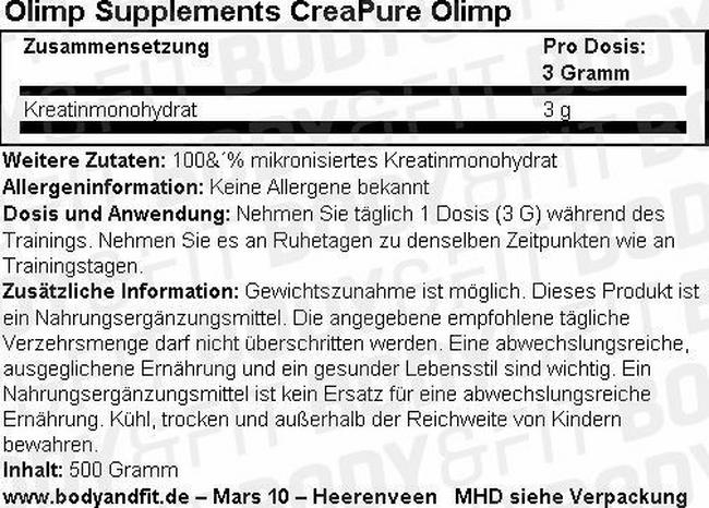 CreaPure Creatine Olimp Nutritional Information 1