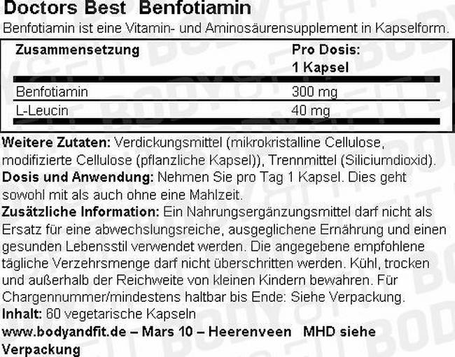 Benfotiamin Nutritional Information 1