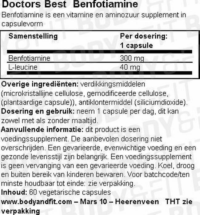 Benfotiamine Nutritional Information 1
