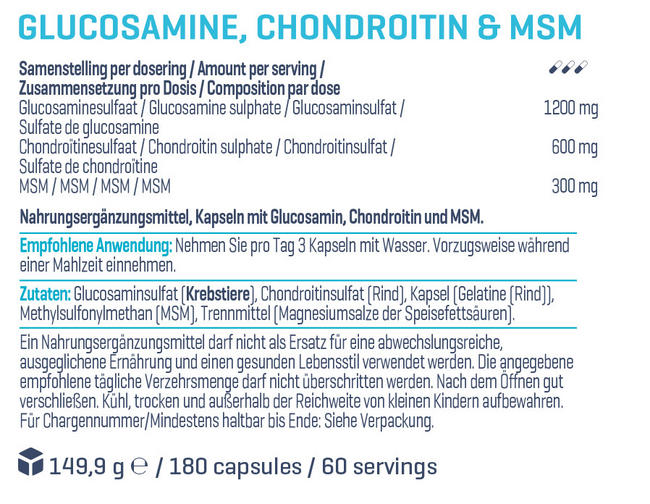 Glucosamin, Chondroitin & MSM Nutritional Information 1