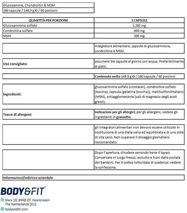 Glucosamina, Condroitina & Msm Nutritional Information 1
