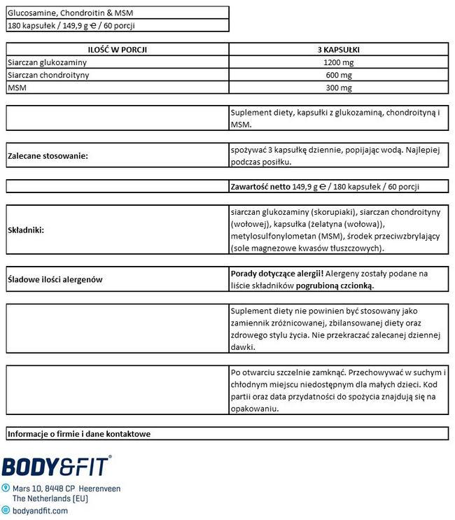 Glukozamina, chondroityna i MSM Nutritional Information 1
