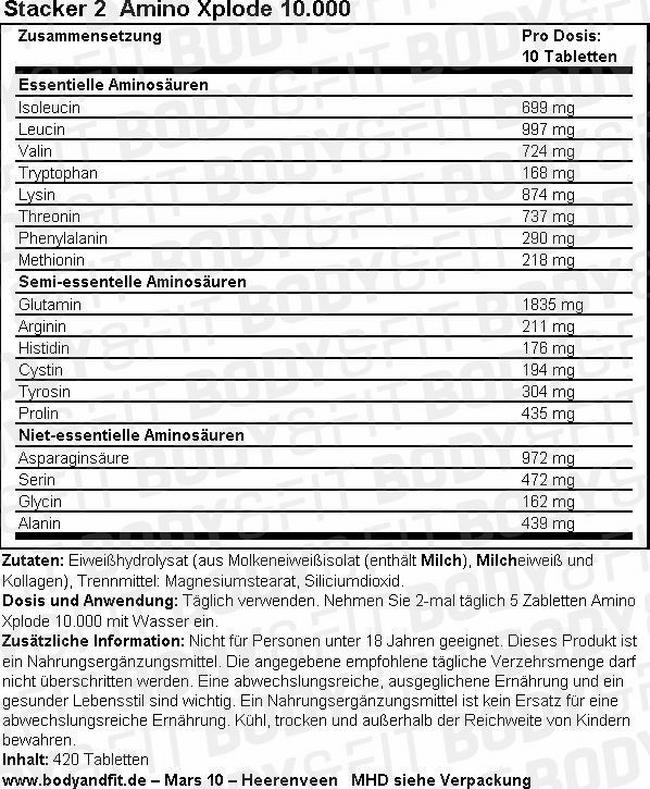 Amino Xplode 10,000 Nutritional Information 2