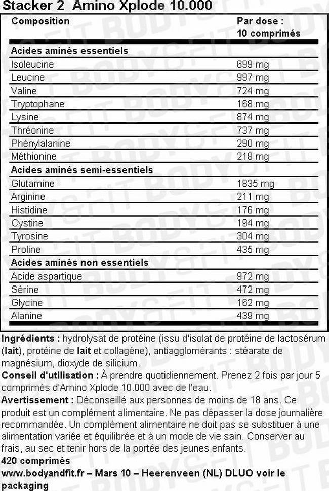 Comprimés Amino Xplode 10,000 Nutritional Information 1