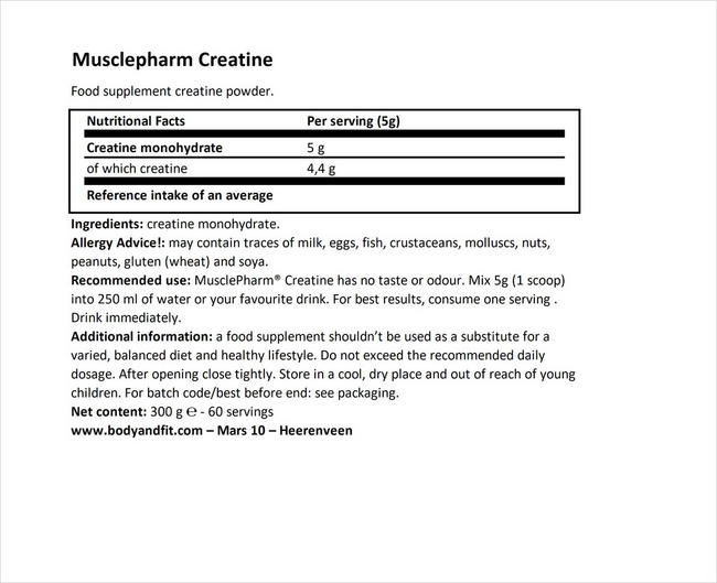 Creatine Nutritional Information 1