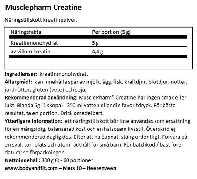 Creatine Nutritional Information 1