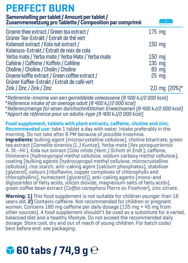 Perfect Burn Nutritional Information 1