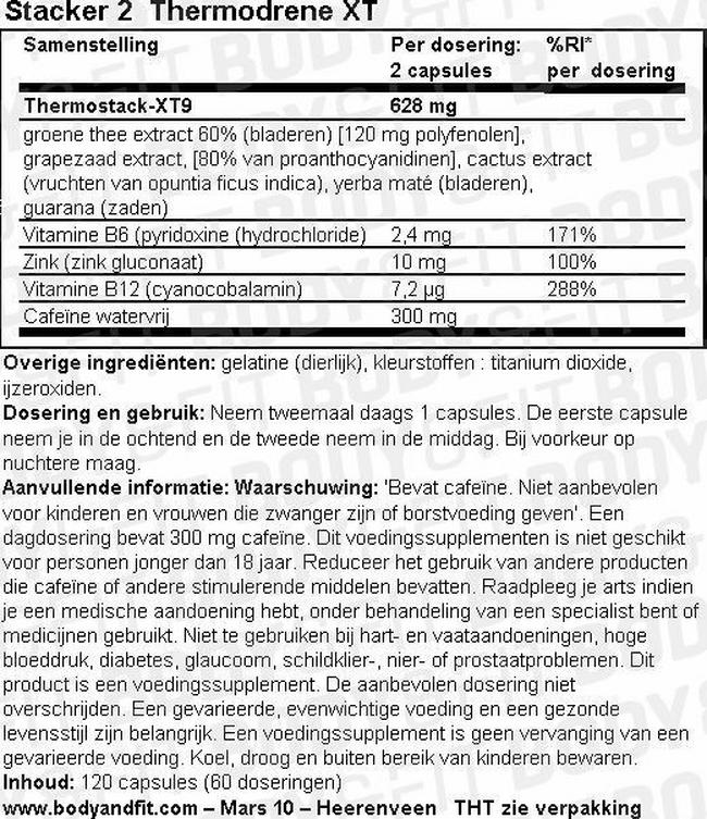Thermodrene XT Nutritional Information 1