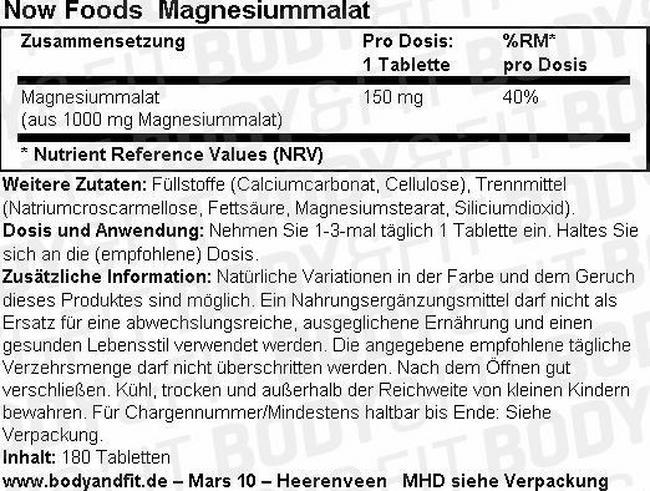Magnesiummalat Nutritional Information 1