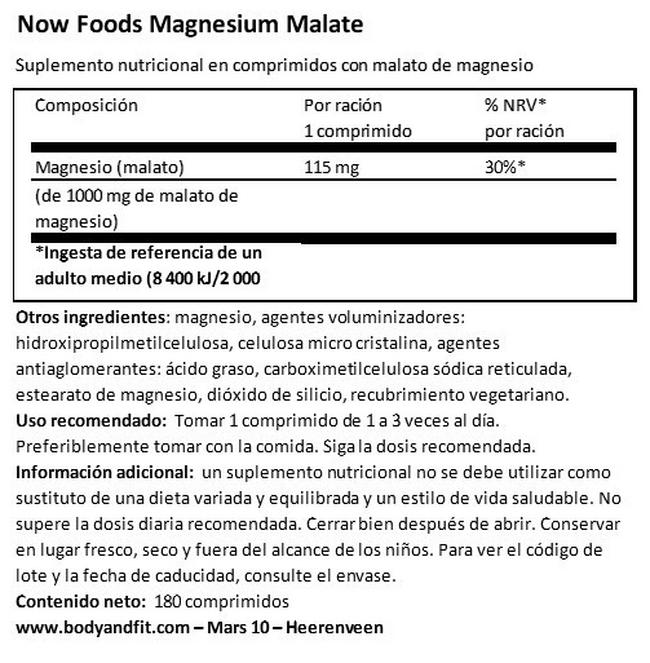 Magnesium Malate Nutritional Information 1