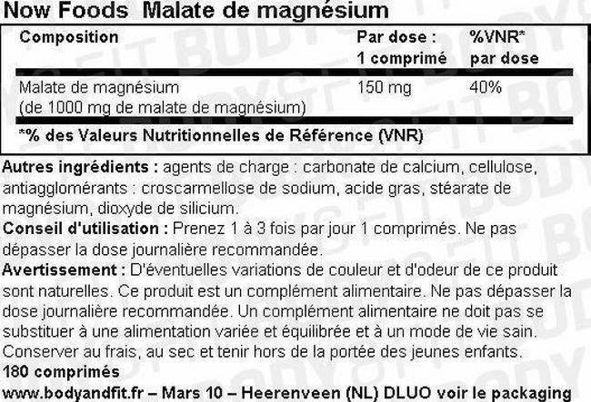 Malate de magnésium Nutritional Information 1