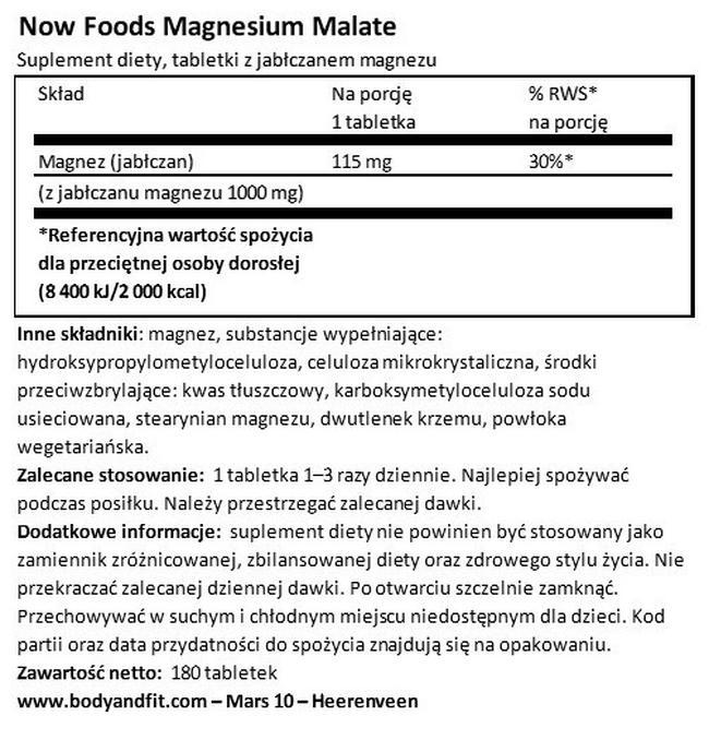 Jabłczan magnezu Nutritional Information 1
