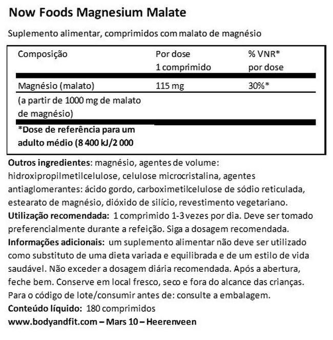 Malato de magnésio Nutritional Information 1