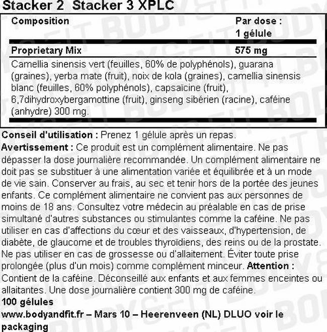 Stacker 3 XPLC Nutritional Information 1