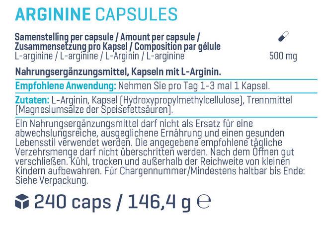 Arginin-Kapseln Nutritional Information 1