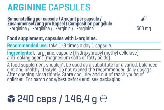 L-Arginine Capsules Nutritional Information 1