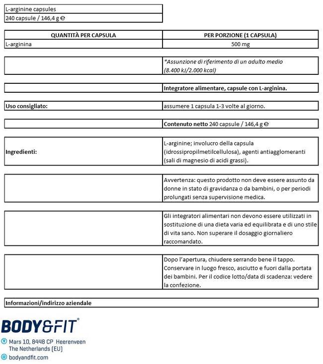 Capsule di L-arginina Nutritional Information 1