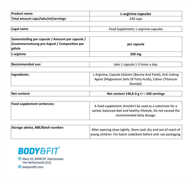 L-アルギニン カプセル Nutritional Information 1