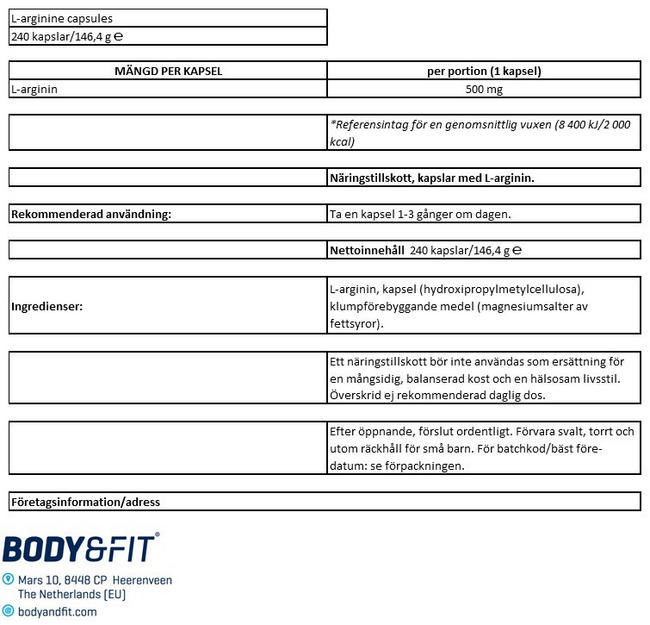 L-argininkapslar Nutritional Information 1