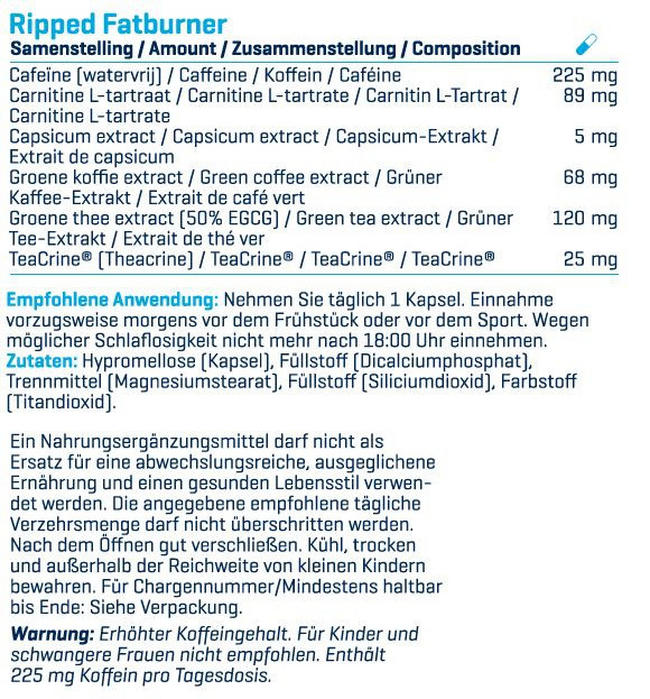 Ripped! Nutritional Information 2