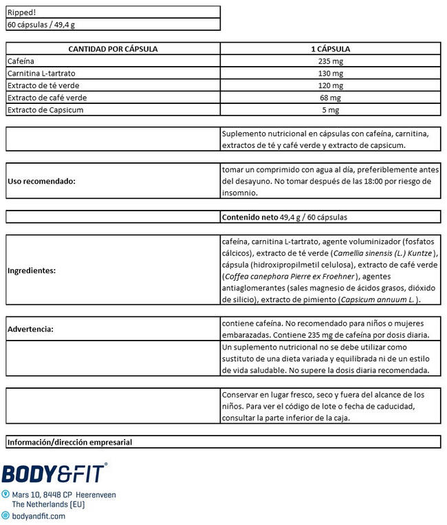 Ripped! Nutritional Information 1