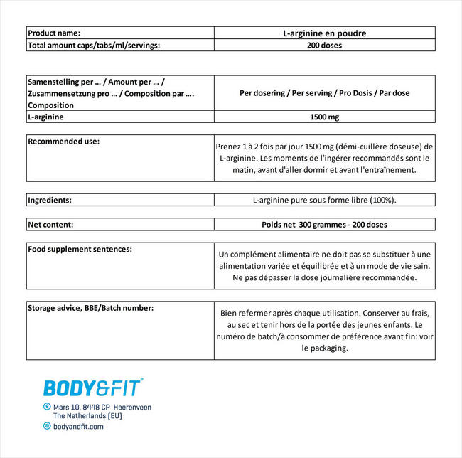 L-arginine en poudre Nutritional Information 1