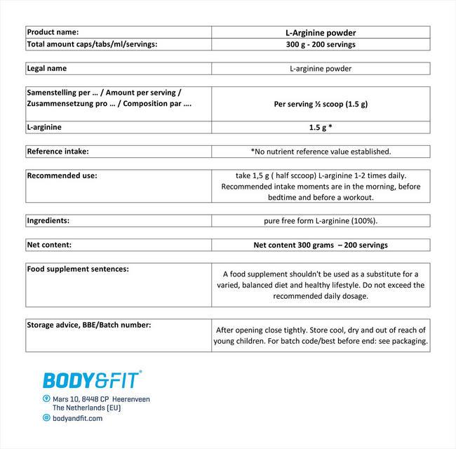 L-아르기닌 파우더 Nutritional Information 1