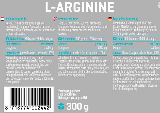 L-Arginine Poeder Nutritional Information 1
