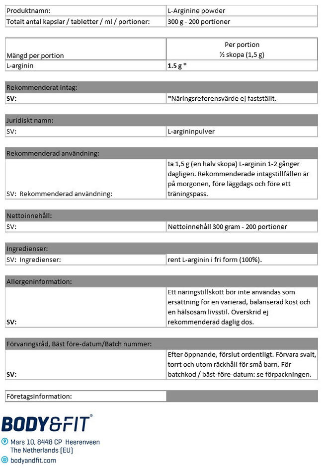 L-argininpulver Nutritional Information 1