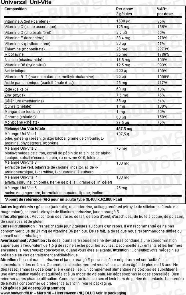 Uni-Vite Nutritional Information 1