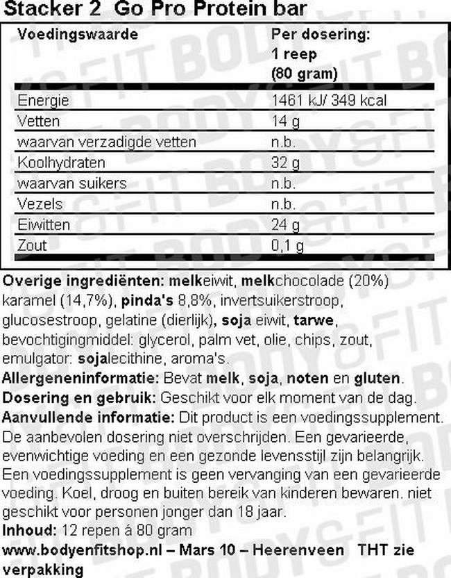 Go Pro Protein bar Nutritional Information 1