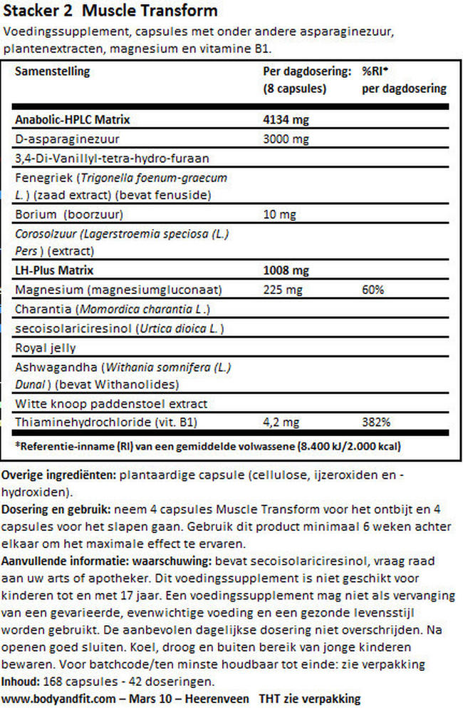 Muscle Transform Nutritional Information 1
