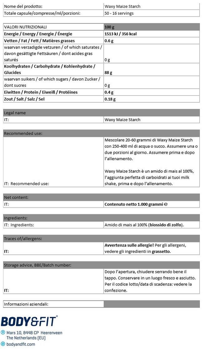 Amido di Mais Cerato Nutritional Information 1