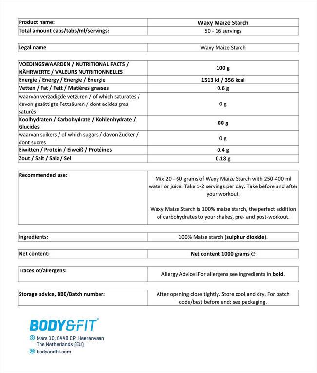 ワキシー コーンスターチ Nutritional Information 1