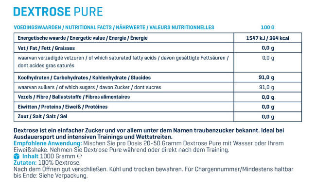 Dextrose Pure Nutritional Information 1