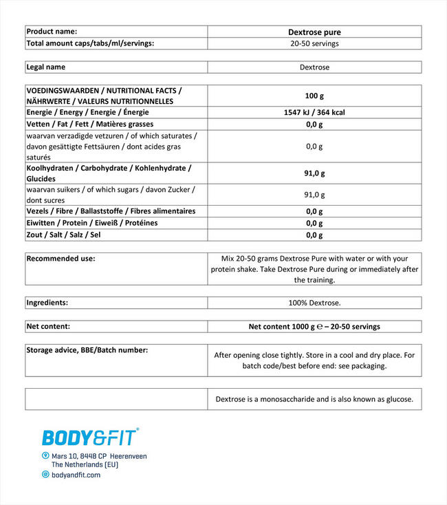 Dextrose Pure Nutritional Information 1