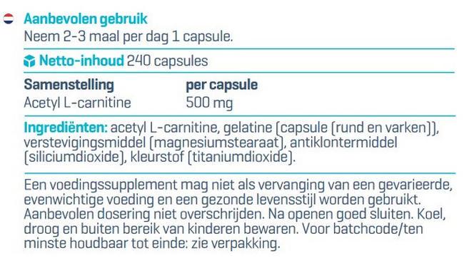 Acétyl-L-carnitine Nutritional Information 1