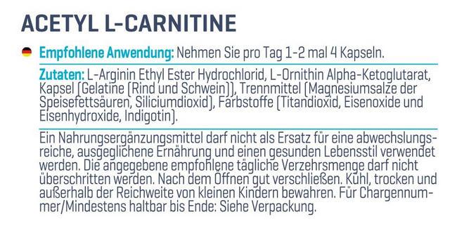 Acétyl-L-carnitine Nutritional Information 2