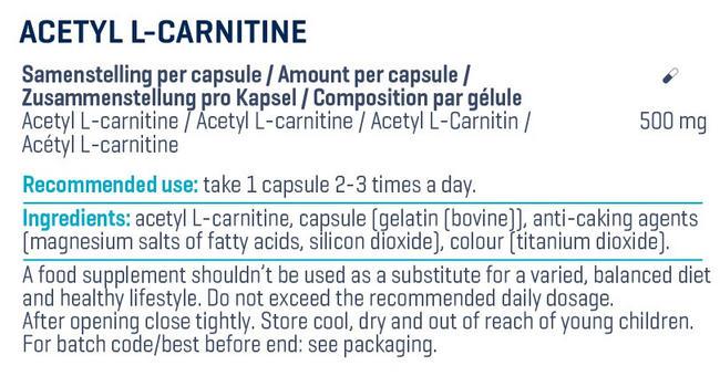 Acétyl-L-carnitine Nutritional Information 3