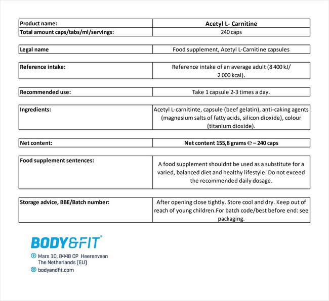 Acétyl-L-carnitine Nutritional Information 4