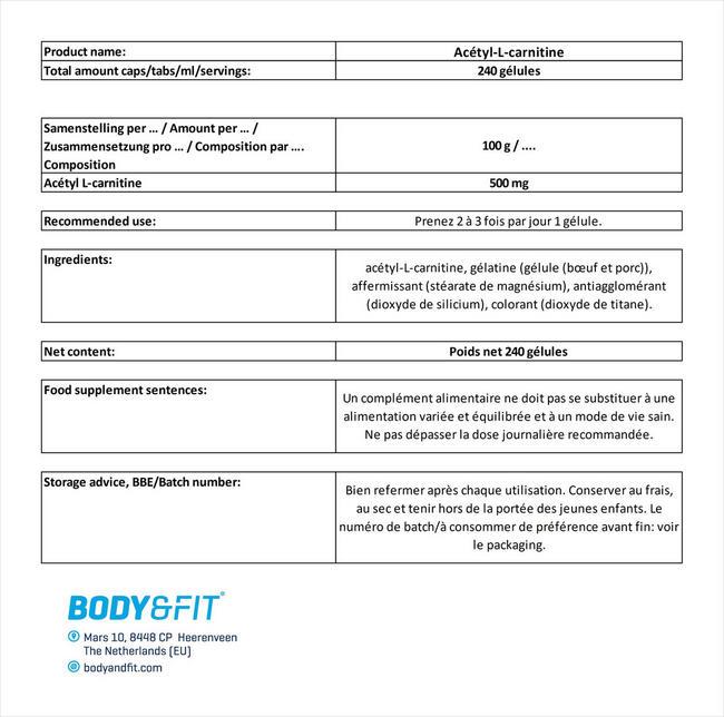 Acétyl-L-carnitine Nutritional Information 5