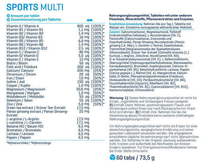 Sports Multi Nutritional Information 1
