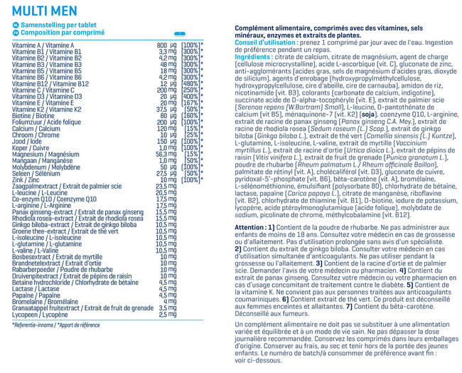 Multi Men Nutritional Information 1