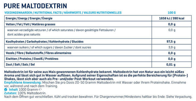 Maltodextrin Pure Nutritional Information 1