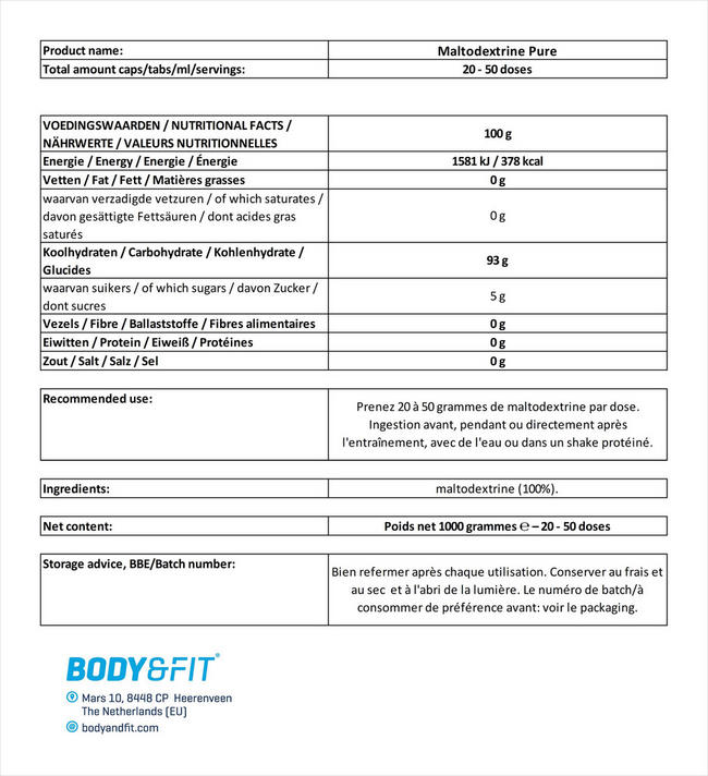 Maltodextrine Pure Maltodextrin Nutritional Information 1