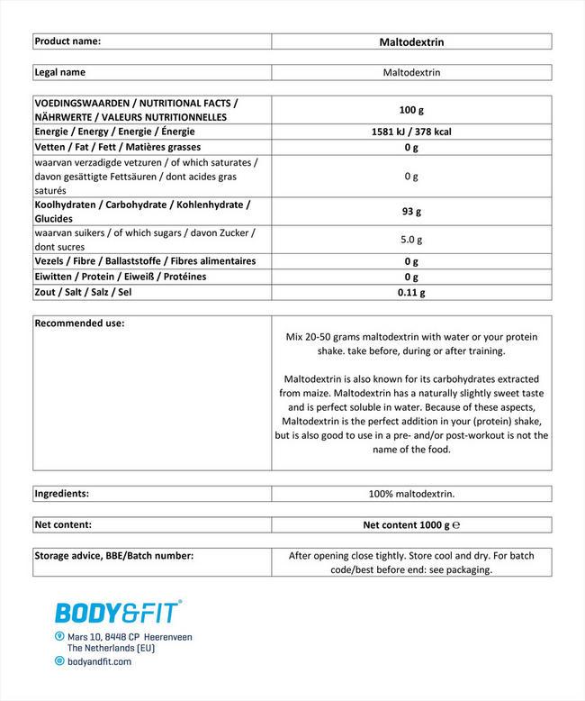 ピュアマルトデキストリン Nutritional Information 1