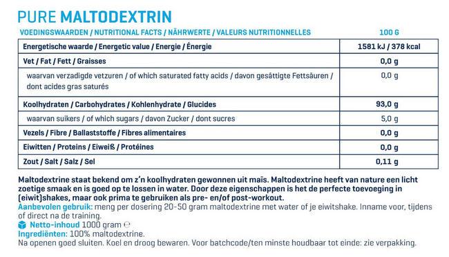 Maltodextrine Pure Nutritional Information 1