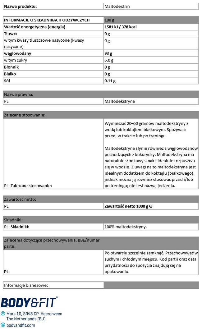 Pure Maltodextrin Nutritional Information 1