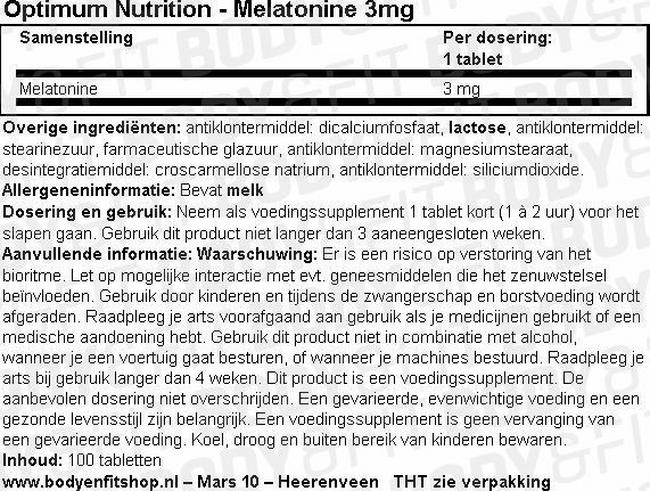 Melatonine 3mg Nutritional Information 1
